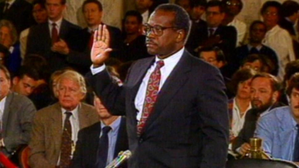 Future Justice Clarence Thomas being sworn in at his SCOTUS hearing