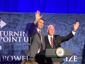 Charlie Kirk and VP Mike Pence in Chicago 3 29 2019