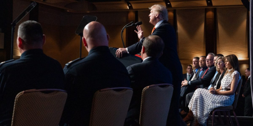 President Trump giving a speech to a crowd