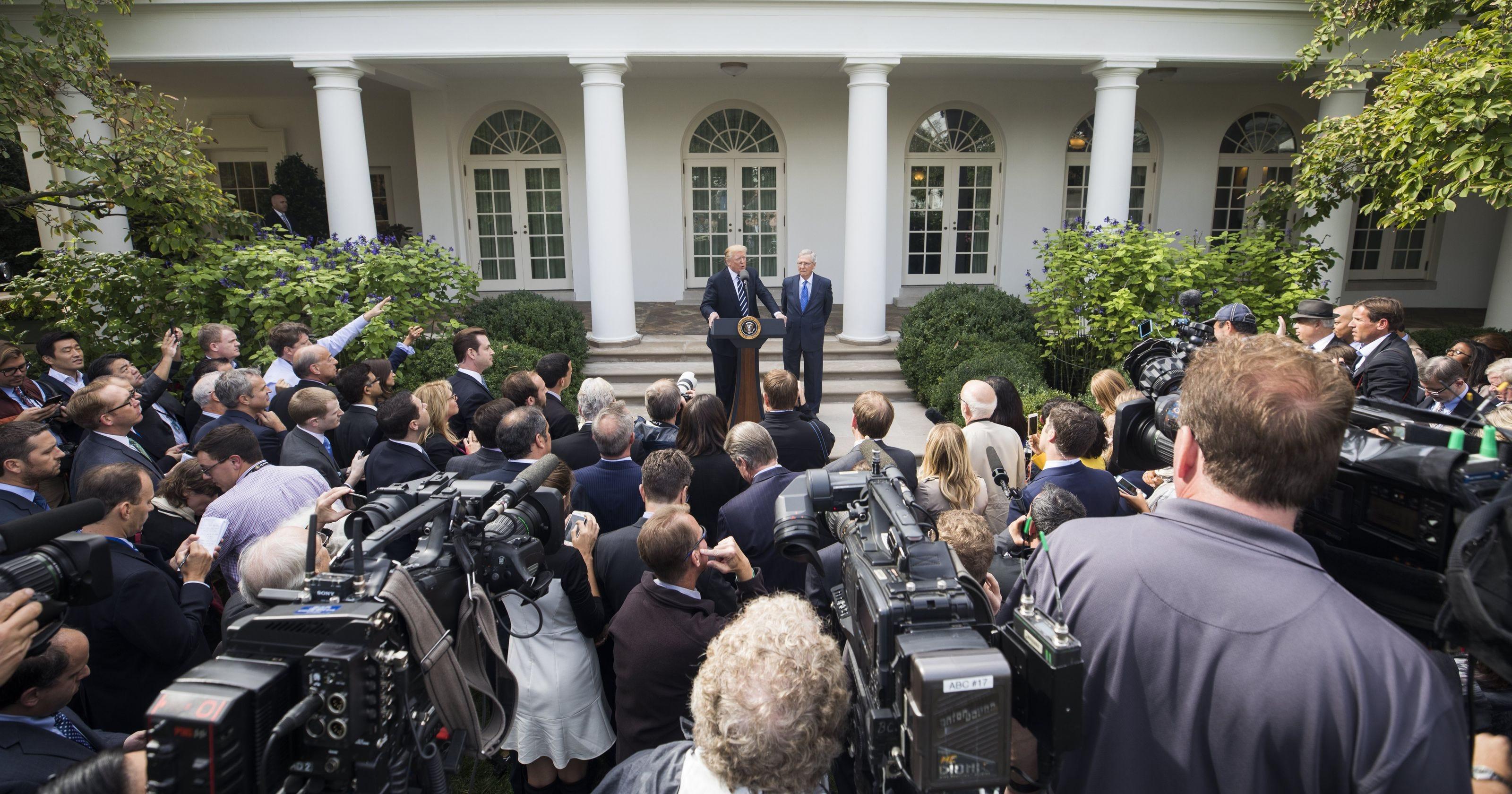 President Donald J. Trump speaking to the media