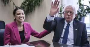 Representative Alexandria Ocasio-Cortez and Senator Bernie Sanders
